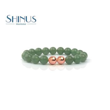 Shinus Mens Bracelet Women Bracelets Healing Natural Aventurine Stone Beads Mala Handmade Meditation Jewelry Yoga Love Gifts