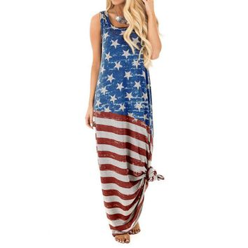 Flag Printed Dress Women Round Neck Sleeveless Maxi Long Dress Ladies Summer Loose Casual Dresses #VE