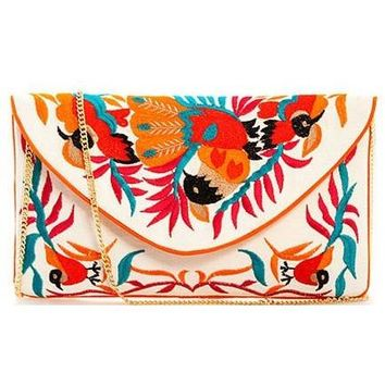 Fashion Bohemian Embroidery Clutch with Chain