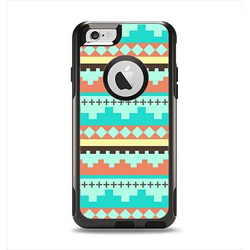 The Teal & Gold Tribal Ethic Geometric Pattern Apple iPhone 6 Otterbox Commuter Case Skin Set