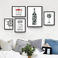 Modern Kitchen Paintings Red Wine Cup Bottle Wall Art on Canvas