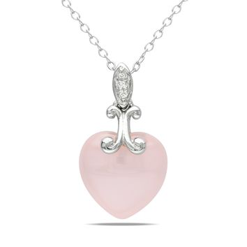 6 1/5 Carat Pink Chalcedony Diamond Pendant in Sterling Silver