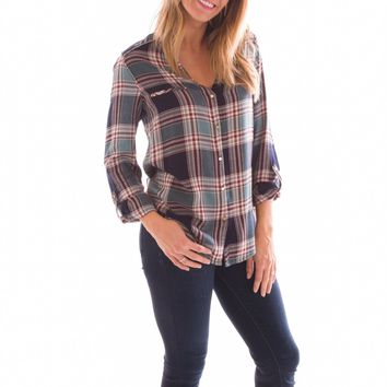 Teal Or No Deal Plaid Button Up Shirt