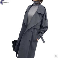 TNLNZHYN Women clothing windbreaker coat spring fashion loose Big yards lapel long sleeves casual Female Trench Outerwear TT326