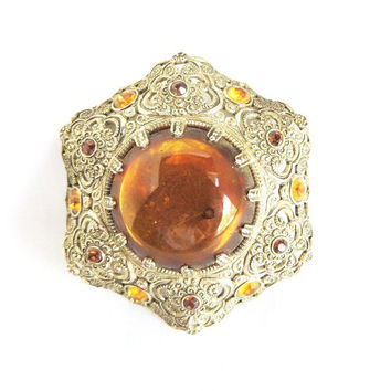 Vintage West Germany Brooch,  Orange Lucite Cabochon, Rhinestone Pin, Filigree Brooch