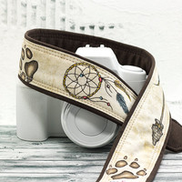 Dream Catcher Camera Strap, dSLR, Hand Painted, Wolf Prints, One of a Kind, Artisan Series, SLR, Tribal, 236