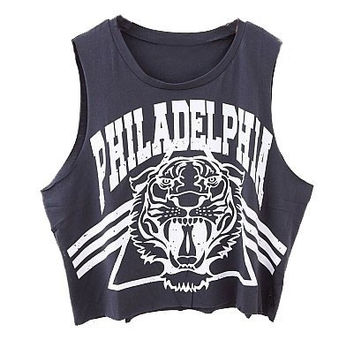 Vintage Sleeveless T-shirt with Tiger and Letters Print = 5660777345