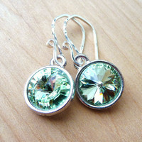 Spring Green Earrings, Swarovski Crystal Briolettes, Sterling Silver, Chrysolite Meadow Light Green, Rivoli Earrings, Summer Fashion