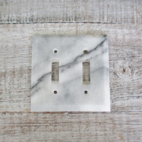 Light Switch Cover Double Marble Light Switch Cover Mid Century Stone Light Switch Plate Vintage Double Light Switch Cover Handcrafted Boho