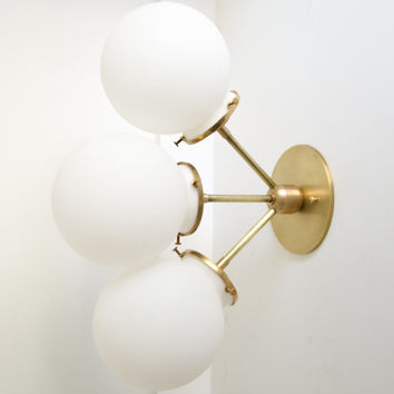 Rose • solid brass triple satin white glass globe light • UL LISTED