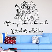 Wall Decals Quotes Vinyl Sticker Decal Quote Winnie the Pooh Some people care too much I think it's called love Nursery Baby Room Kids Boys Girls Home Decor Bedroom Art Design Interior NS860