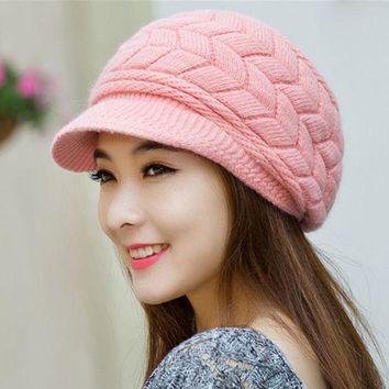 LMFUNT Winter Women hat Ladies Warm Knit Crochet Slouch Baggy Beanie Hat Cap for women bonnet  Y1