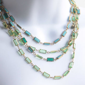 Swarovski Crystal Necklace - Vintage Channel Set Baguette Crystals.  One of Kind.