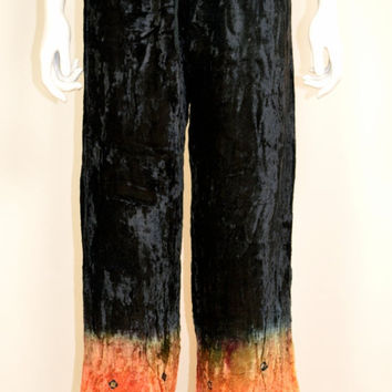 On SALE Crushed Velvet 90s Hippie Pants: