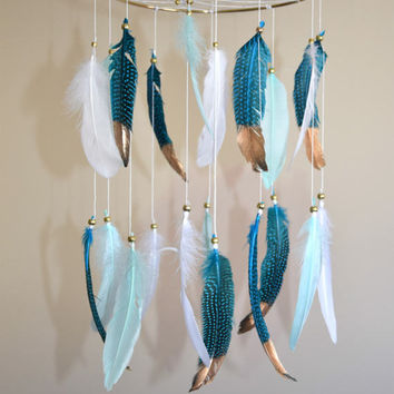 Baby Mobile, Feather Dreamcatcher Mobile, Teal Mint Nursery Decor, Dream Catcher Baby Boy Girl Nursery Mobile, Large Dreamcatcher