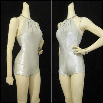 Vintage 60s Swimsuit Silver Lurex Lame Cole California Pin up Bathing Suit S