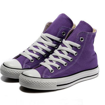"""Converse"" Fashion Canvas Flats Sneakers Sport Shoes Hight tops Purple"
