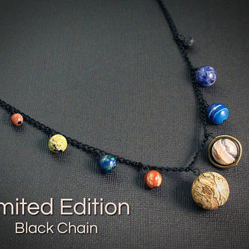 Gemstone Solar System Necklace: Black // Space, Planet, & Science Themed Jewelry // Gemstone Astronomy Gift for Graduate, Teacher, Pluto