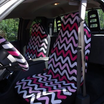 1 Set of Pink Fun Chevron  Print Seat Covers and  Steering Wheel Cover Custom Made.