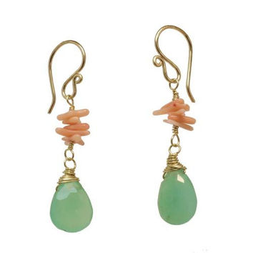 Coral and Chrysoprase Rose Gold Earrings