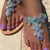 Diamonds Rhinestone Fashion Women Beach Sandals Flats Shoes