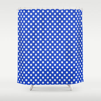 Royal Blue Combination Polka Dots Shower Curtain by Inspired By Fashion