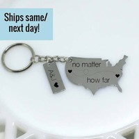 Long Distance Relationship, Long Distance Friendship, Engraved Keychain, Long Distance Keychain, USA Keychain, Boyfriend Gift, Long Distance
