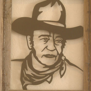 John Wayne 16 Gauge Metal Wall Sculpture in Barn Wood Fram With Barbed Wire