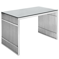 Gridiron Stainless Steel Desk in Silver