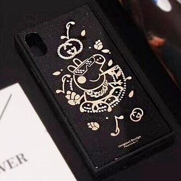 GUCCI & Peppa Pig Stylish Cute Phone Case Shell Diamond Letter Pig Pattern For iphone 6 6plus iphone 7 7plus iphone 8 8plus iphone X Black I12325-31