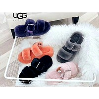 Free shipping-UGG Comfortable non-slip wild plush buckle sandals and slippers