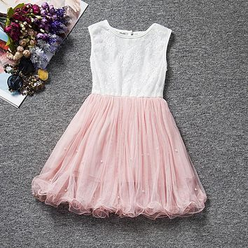 Summer Print Flower Lace Dress Baby Girl 2 to 9 Years Age Birthday Pearl Pattern Chlidren Clothes Party Dress Christening