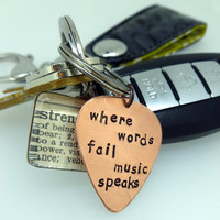 Hand Stamped Copper Guitar Pick - Keychain - Key accessory - Unisex