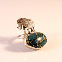Circus Elephant Open Double Ring with Aqua Terra Jasper- Sterling Silver- Antique Patina Finish- Fit Size 3-5