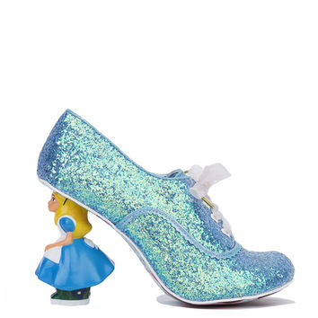 Irregular Choice x Alice in Wonderland Tea With Alice Heels- Pale Blue Glitter