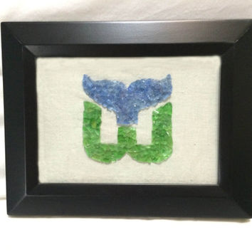Hartford Whalers Wall Art, Whalers, Hockey, NHL, Glass Mosaic, Man Room Decor,