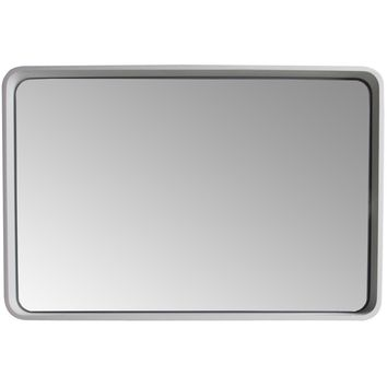 ID Wall Full Function LED Light Framed Mirror 35.4 x 23.6 in White Solid Surface