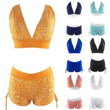 vertvie Sexy Bikini Set Women 2018 Plus Size Print Swimwear Halter Bandage Swimsuit Push Up Brazilian Biquini Sports Swim Trunks