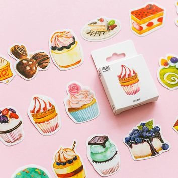 50 pcs/box Dessert cake Kawaii heteromorphism stickers DIY album adhesive paper Scrapbook Notebook decoration sticker stationery