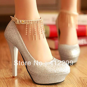 Platform Pumps shoes Women High-heeled Shoes Rhinestone Chain Heels Female Single Platform Wedding Shoes All-match platform
