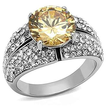 WildKlass Stainless Steel Ring High Polished (no Plating) Women AAA Grade CZ Champagne