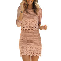 Hollow Out Lace  Two Set Dress