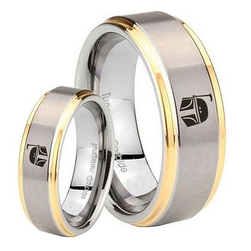 His Hers Step Edge Star Wars Boba Fett Sci Fi Science 14K Gold 2 Tone Tungsten Wedding Rings Set