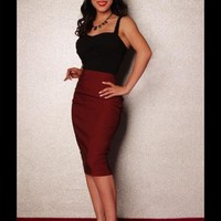 Dixiefried Clothing Perfect Pencil Skirt in Burgundy | Pinup Girl Clothing