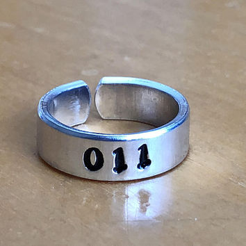 011 - Stranger Things Inspired  Aluminum Cuff Ring - Hand Stamped - Gift Under 20