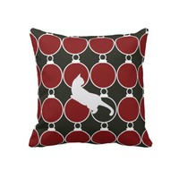 Cute Playful Cat with Christmas Ornaments Girly Pillow for Her: Holiday Gift Idea for Cat Lovers