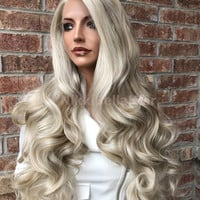 "Lake Light Blond Highlights EXTRA FULL Swiss 26"" Lace Front Wig /Sale/"