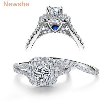 2 Pcs Solid 925 Sterling Silver Women's Wedding Ring Sets Victorian Style