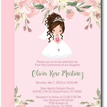 Floral Girl First Communion Invitations