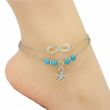 Infinity Charm Beads Antique Silver Sea Pendant Handmade Anklet